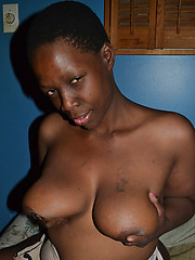 Black slut with sexy nipples and well shaped meaty pussy lips